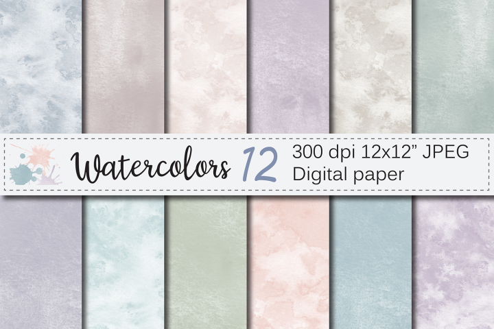 Neutral watercolor digital papers / textures / backgrounds