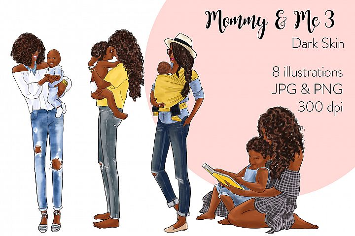 Fashion illustration clipart - Mommy & Me 3 - Dark Skin