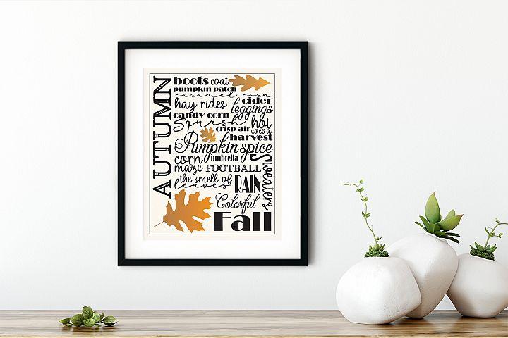 Autumn / Fall - Subway Sign Art Print and Design Set