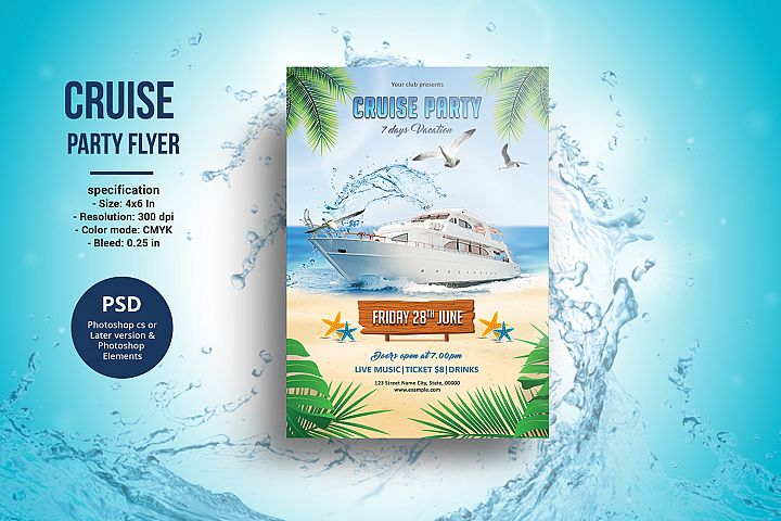 Cruise Party Flyer , Photoshop Template