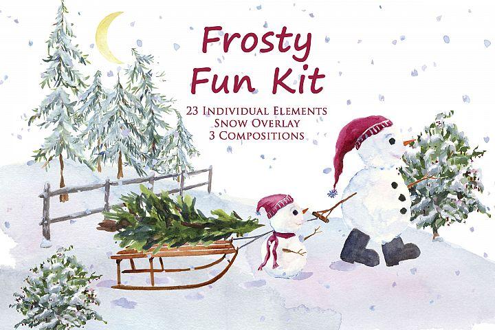 Frosty Fun Kit- Snowmen, Sled, Snow overlay, Christmas Tree