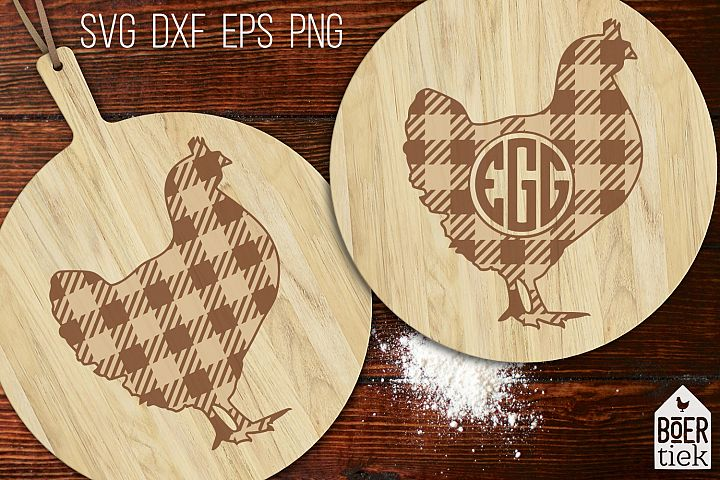 Buffalo plaid chicken | Farm SVG cutting file | 2 designs