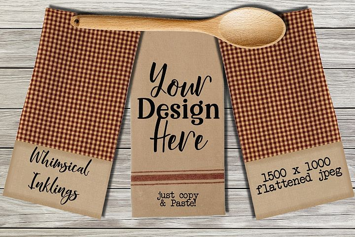 Country Gingham Dish Towel Mock Up
