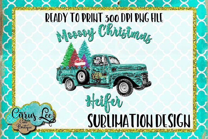 Mooooy Christmas Heifer Sublimation Design