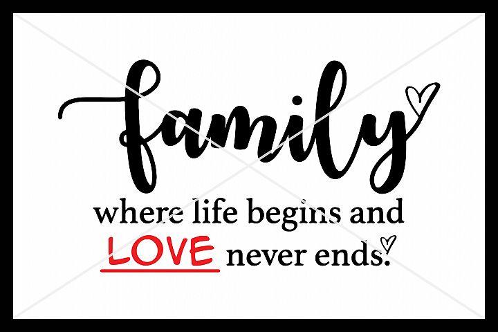 Family, SVG, Silhouette Cameo, Cut File, Cricut, Love