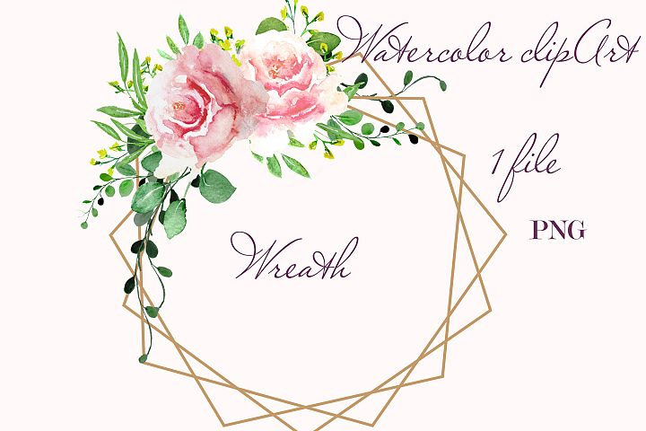 Watercolor Floral Geometric Wreath Clipart