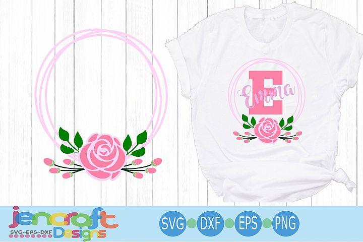 Floral SVG Flower Wreath Frame SVG, Roses Monogram Frame SVG