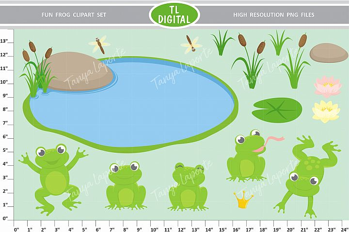 Frog Fun Clipart Set - 17 Pond Graphics - PNG Files