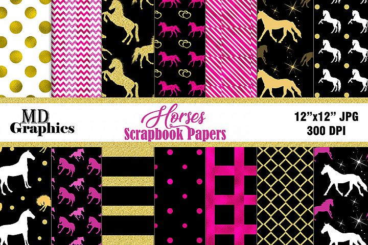 Horses Scrapbook Papers, Digital Download, Digital Papers