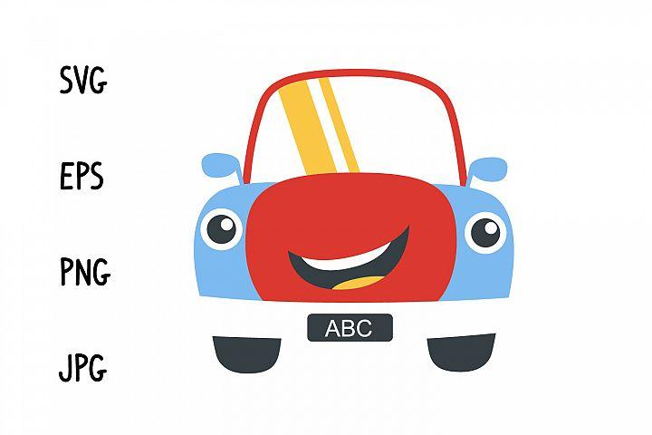 Happy cartoon car svg