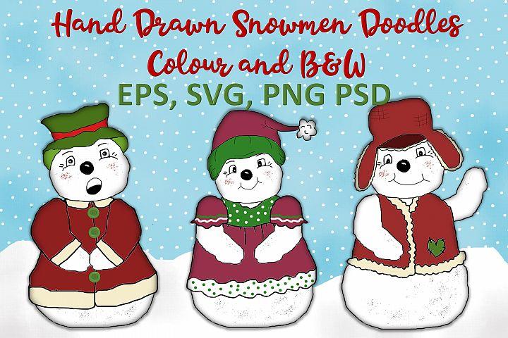 Christmas Snowmen Doodles Clipart SVG, PNG, EPS, PSD