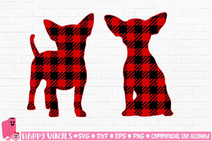 Buffalo Plaid Chihuahua Silhouettes - A Home Decor SVG File