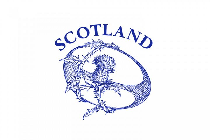 Rugby Ball With Thistle Scotland Drawing