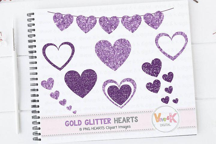 Purple Glitter Hearts, Glitter Hearts, Purple Hearts Clipart, Purple Glitter Planner Clipart, Purple Hearts Graphics, Glitter Banner Clipart