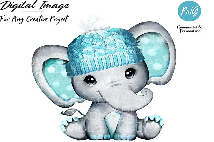 Turquoise boy elephant with winter hat, watercolor