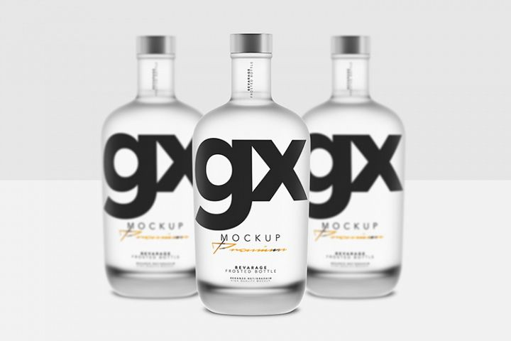Beverage - Glass - Frosted Bottle - Mockup - Front View