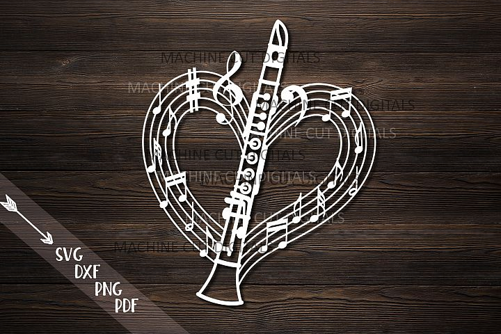 Clarinet musical heart shape svg dxf laser cut out template