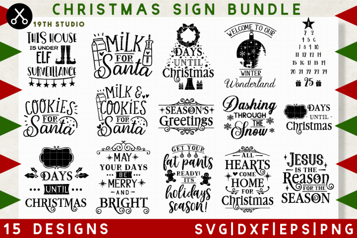 Christmas sign SVG Bundle | SVG DXF EPS PNG MB36