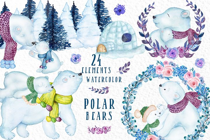 Watercolor Winter Animals, POLAR BEARS CLIPART, Mama Bear