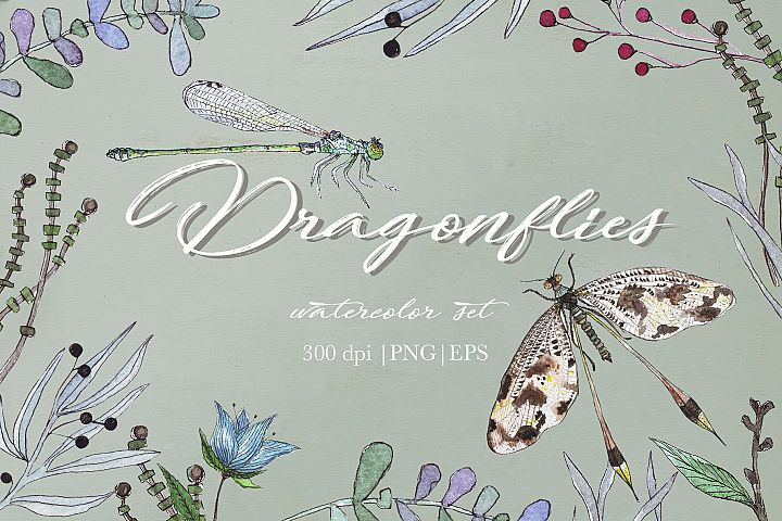 Watercolor dragonflies example 1