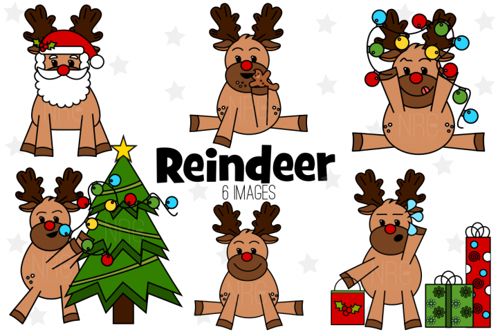 Christmas Reindeer Graphics, Illustrations, Clipart