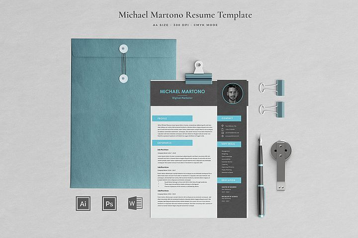 Michael Resume with Cover Letter Professional Template