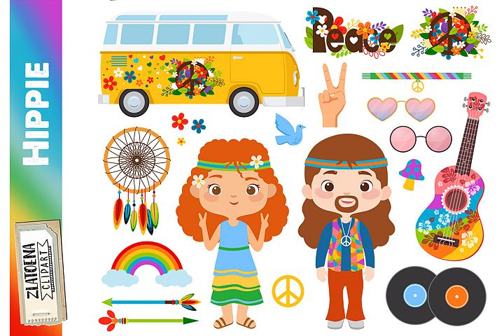 Hippies clipart Flower power clipart Hippy clipart Hippies