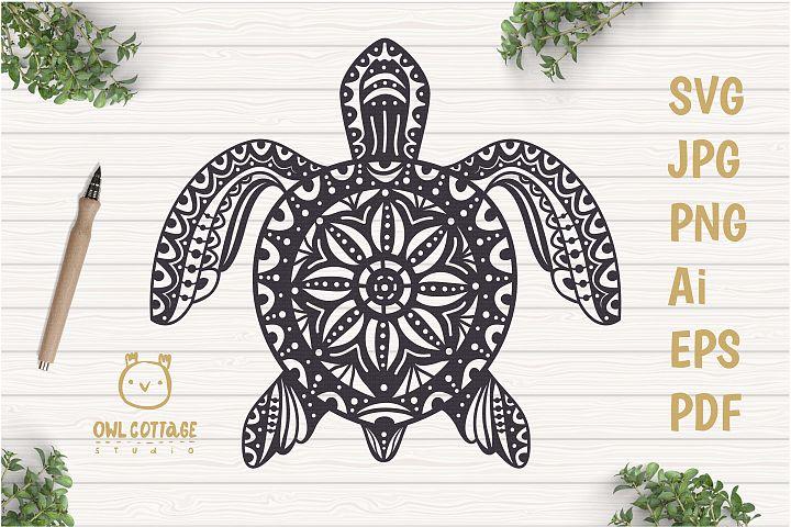 Turtle Mandala Svg Cut File, Turtle Svg, SeaTattoo Design
