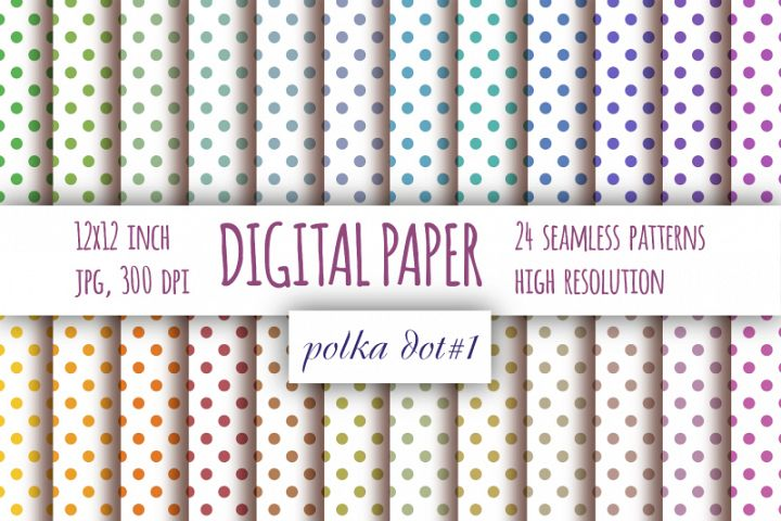 Pastel Polka dot digital paper. Dotted digital background