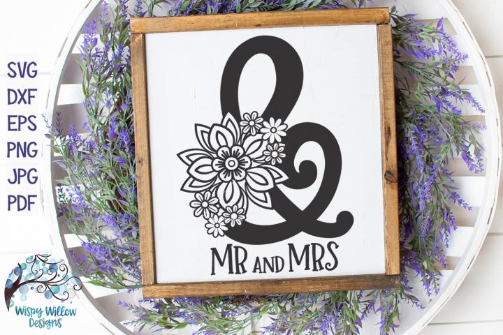 Mr and Mrs SVG | Floral Ampersand SVG