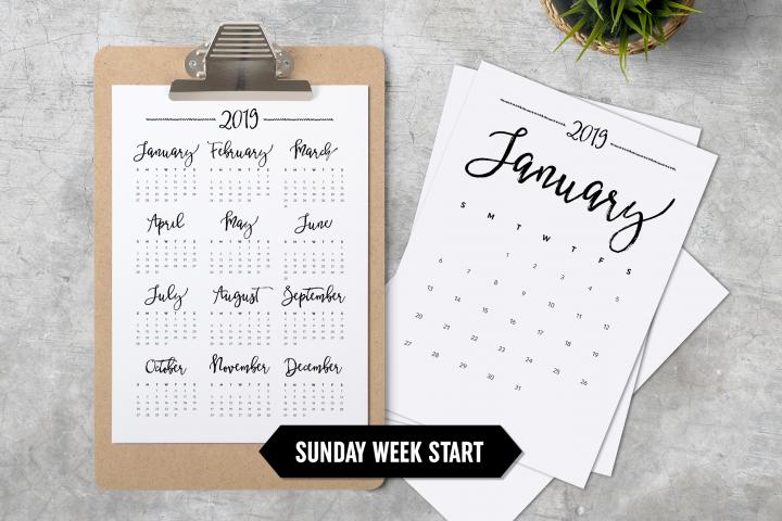 Calendar 2019 A4 Sunday Week Start