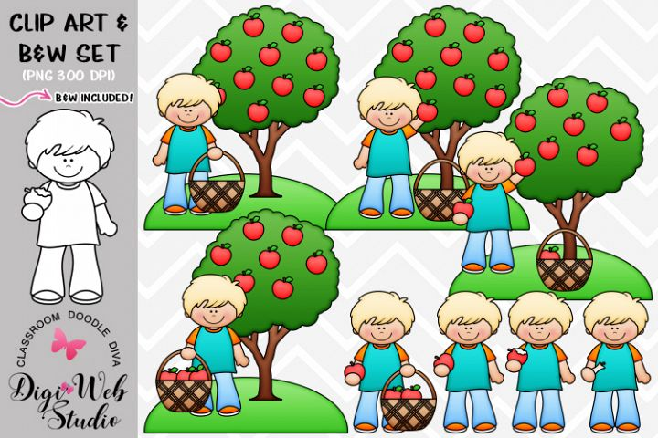 Clip Art / Illustrations - Derek Picks and Eats An Apple