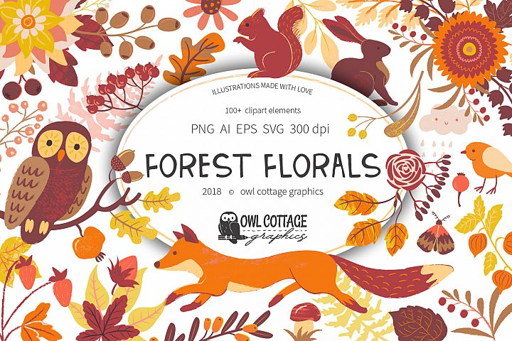 Forest Clipart Set- Vector and Raster Versions