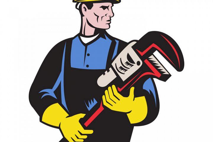 plumber repairman holding monkey wrench