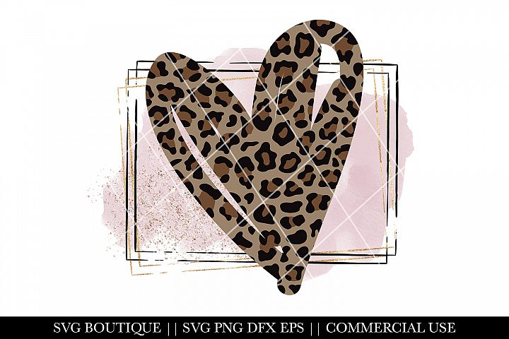 Valentines Day Heart- Leopard Print PNG Sublimation File