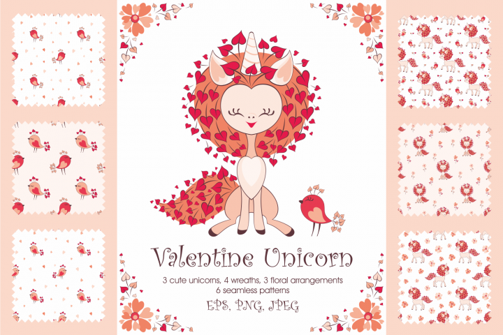 Valentine unicorn. Vector clip arts and seamless patterns