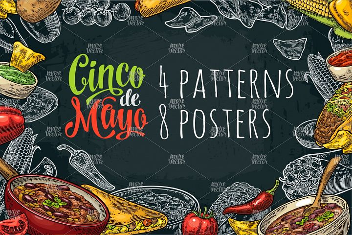 Cinco de Mayo lettering and mexican food. Vector engraving