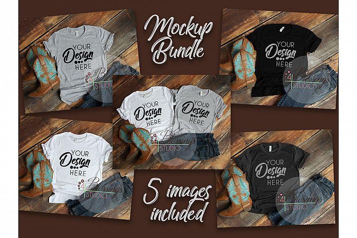 T Shirt Mockup Bundle Bella Canvas 5 images Mockup Country