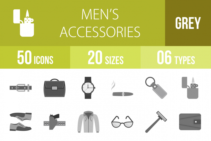 50 Mens Accessories Greyscale Icons