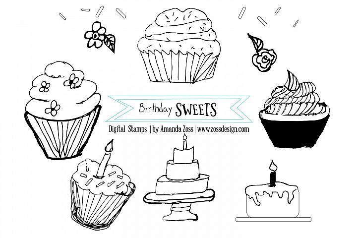 Birthday Sweets Digi stamps and Clipart