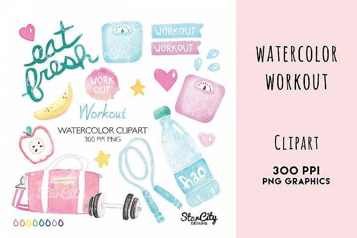 Watercolor Workout Clipart, Dumbells, Jumprope, water bottle
