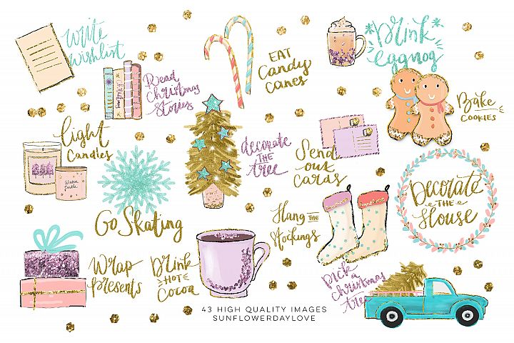 Holiday Bucket List Clip art, Winter Stickers clipart