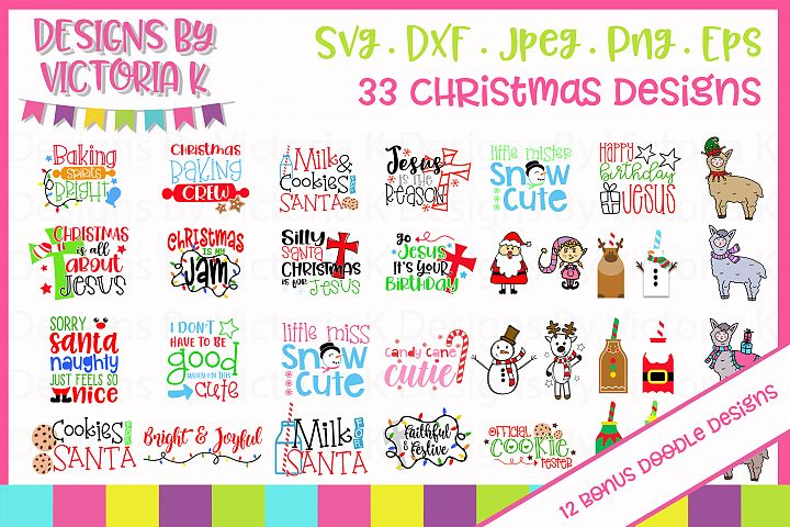 33 Christmas designs, 12 bonus doodle designs, SVG, DXF