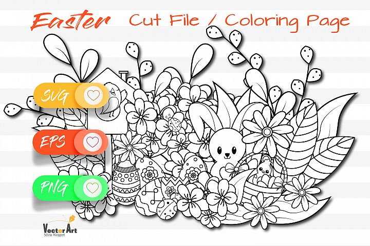 Easter Fun - Cut File and Coloring Page
