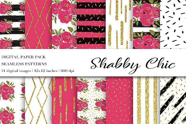 Shabby Chic Digital Paper, Gold Pink Flower Seamless Pattern