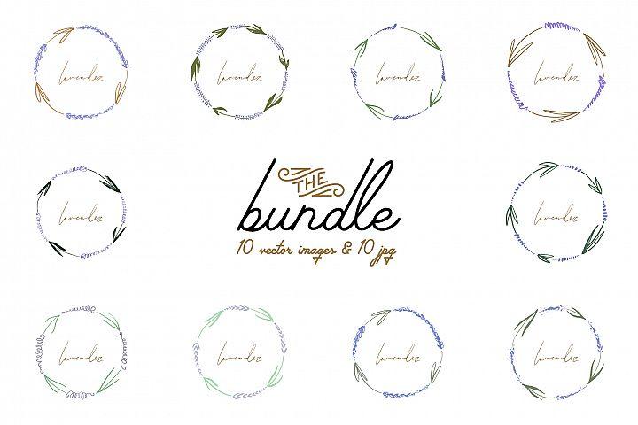 Lavender flowers frames, wreath set, vector clip art