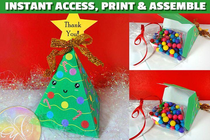 Christmas Tree Kawaii Favor Box PRINTABLE