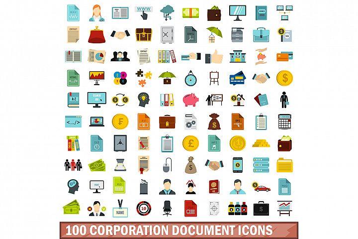 100 corporation document icons set, flat style