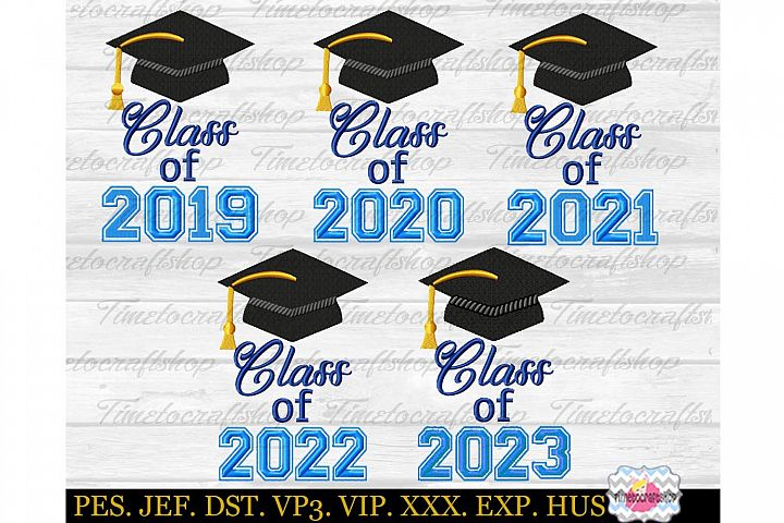 Graduation Class of 2019 to 2023 Embroidery Bundle