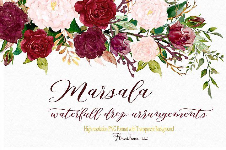 Marsala and Blush Watercolor Clipart Floral Drop Arrangement